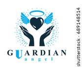 loving heart in human hands ...   Shutterstock .eps vector #689148514