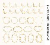 set of hand drawn golden... | Shutterstock .eps vector #689148745