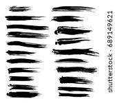 ink brush. set different brush... | Shutterstock . vector #689149621