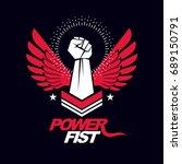 strong fist of a muscular man... | Shutterstock .eps vector #689150791