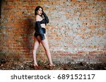 brunette plus size sexy woman ... | Shutterstock . vector #689152117