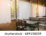 empty cafe in morning interiors ... | Shutterstock . vector #689158039