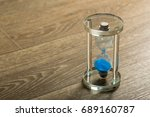 time is passing. blue hourglass ... | Shutterstock . vector #689160787