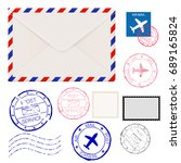 airmail envelope with postmarks.... | Shutterstock . vector #689165824