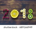 happy new year 2018 of fruit... | Shutterstock . vector #689166949