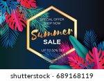 trendy summer sale template... | Shutterstock .eps vector #689168119