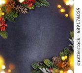 christmas holiday background... | Shutterstock . vector #689176039