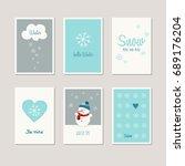 set of decorative winter cards | Shutterstock .eps vector #689176204