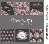 vector set with flower design.... | Shutterstock .eps vector #689177047