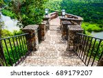 colonial bridge over the river...   Shutterstock . vector #689179207