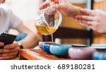 glass teapot for tea at the tea ... | Shutterstock . vector #689180281