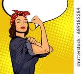 pop art sexy strong woman... | Shutterstock .eps vector #689183284