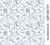 freehand drawing school items... | Shutterstock .eps vector #689186755