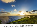 solar panels at sunrise with... | Shutterstock . vector #689189695
