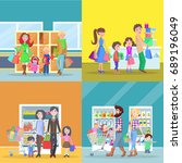 happy families have shopping in ... | Shutterstock . vector #689196049