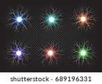fireballs colourful set on dark ... | Shutterstock . vector #689196331