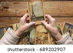 old female hands hold vintage... | Shutterstock . vector #689202907