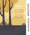 autumn landscape background...   Shutterstock .eps vector #689207545