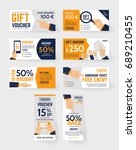 vector gift voucher... | Shutterstock .eps vector #689210455