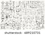 Stock vector huge mega big collection or set of vector decorative elements for design 689210731