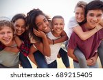 teenage school friends having... | Shutterstock . vector #689215405