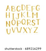 golden hand drawn alphabet... | Shutterstock .eps vector #689216299
