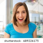 young woman in a restaurant... | Shutterstock . vector #689226175