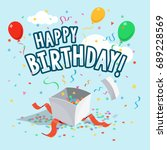 template of happy birthday... | Shutterstock .eps vector #689228569