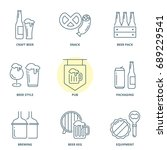 beer linear vector icons set | Shutterstock .eps vector #689229541