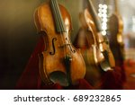 violin in vintage style on wood ... | Shutterstock . vector #689232865