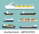 cargo vessels and tankers...   Shutterstock .eps vector #689233501