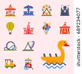 carousels amusement attraction... | Shutterstock .eps vector #689234077