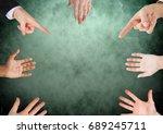 digital composite of hands in... | Shutterstock . vector #689245711