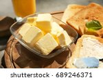 cutting board with toasts and... | Shutterstock . vector #689246371