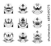imperial crowns emblems set.... | Shutterstock .eps vector #689249275