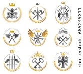 vintage weapon emblems set.... | Shutterstock .eps vector #689249311