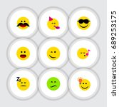 flat icon emoji set of happy ... | Shutterstock .eps vector #689253175