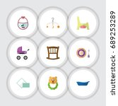flat icon baby set of bathtub ... | Shutterstock .eps vector #689253289