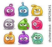funny colorful blob characters. ...