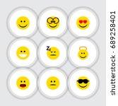 flat icon gesture set of asleep ... | Shutterstock .eps vector #689258401