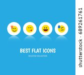 flat icon face set of have an... | Shutterstock .eps vector #689261761