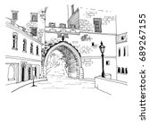 Urban Sketch With Landscape Of...
