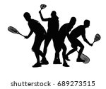 squash players black on a white ... | Shutterstock .eps vector #689273515
