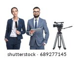 announcers with digital tablet... | Shutterstock . vector #689277145