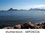 Bay and mountains in Rio de Janeiro, Brazil - stock photo