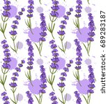 colorful lavender seamless... | Shutterstock .eps vector #689283187