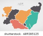 suffolk england map with states ...   Shutterstock .eps vector #689285125