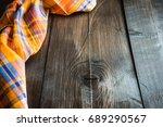 bright orange color kitchen...   Shutterstock . vector #689290567