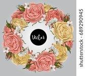 vector roses wreath illustration   Shutterstock .eps vector #689290945