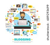 blogger background with flat... | Shutterstock .eps vector #689293699
